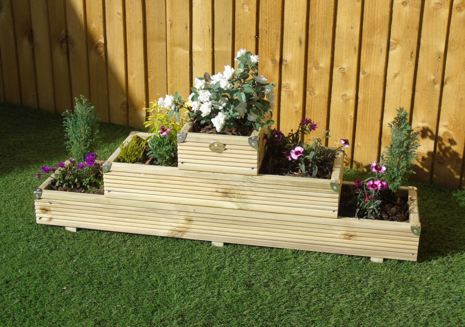 3 Tiered Pyramid Triangle Garden Decking Level Steps
