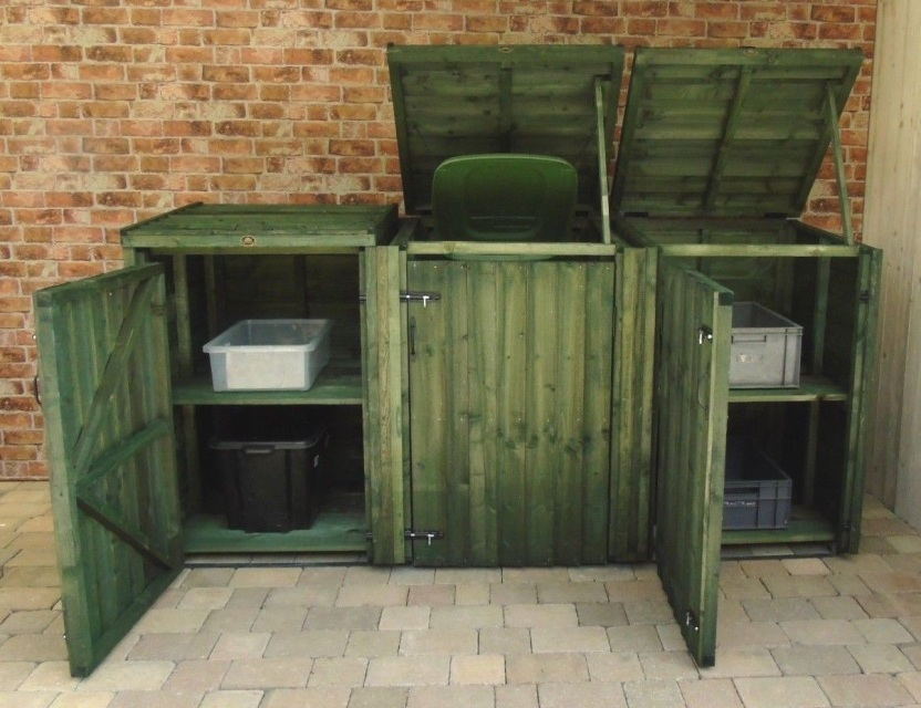 Wheelie Bin Dust Bin Recycling Shelter Green Size Options