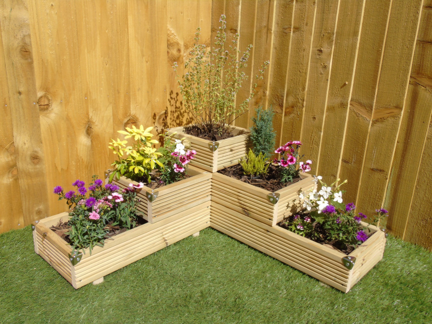 Large 3 Tiered Corner Garden Level Steps Wooden Decking