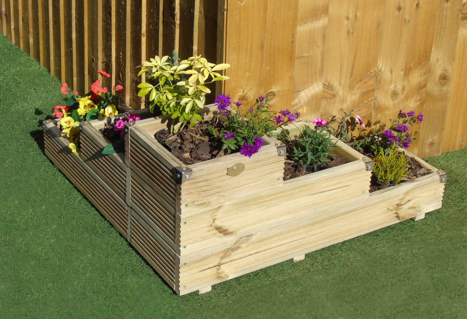 Large 3 Tiered Corner Garden Level Steps Wooden Decking Patio Planter Milton Keynes