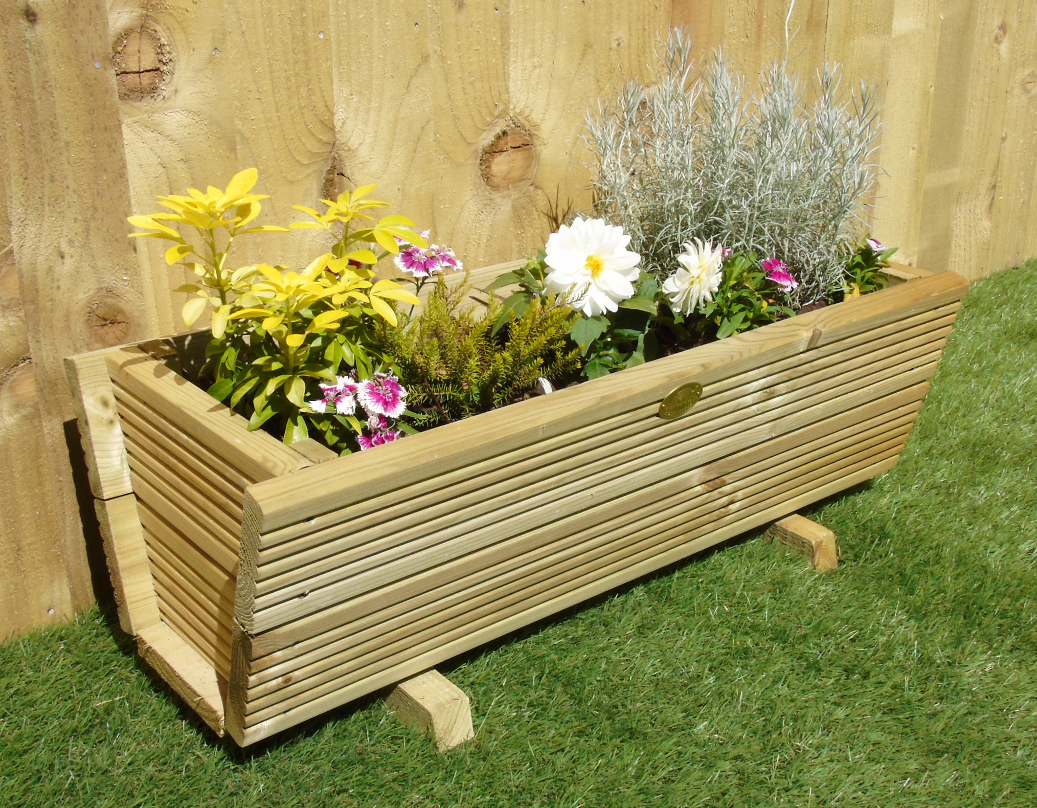 Tapered Triangle Trough Decking Garden Planter Plant Pot