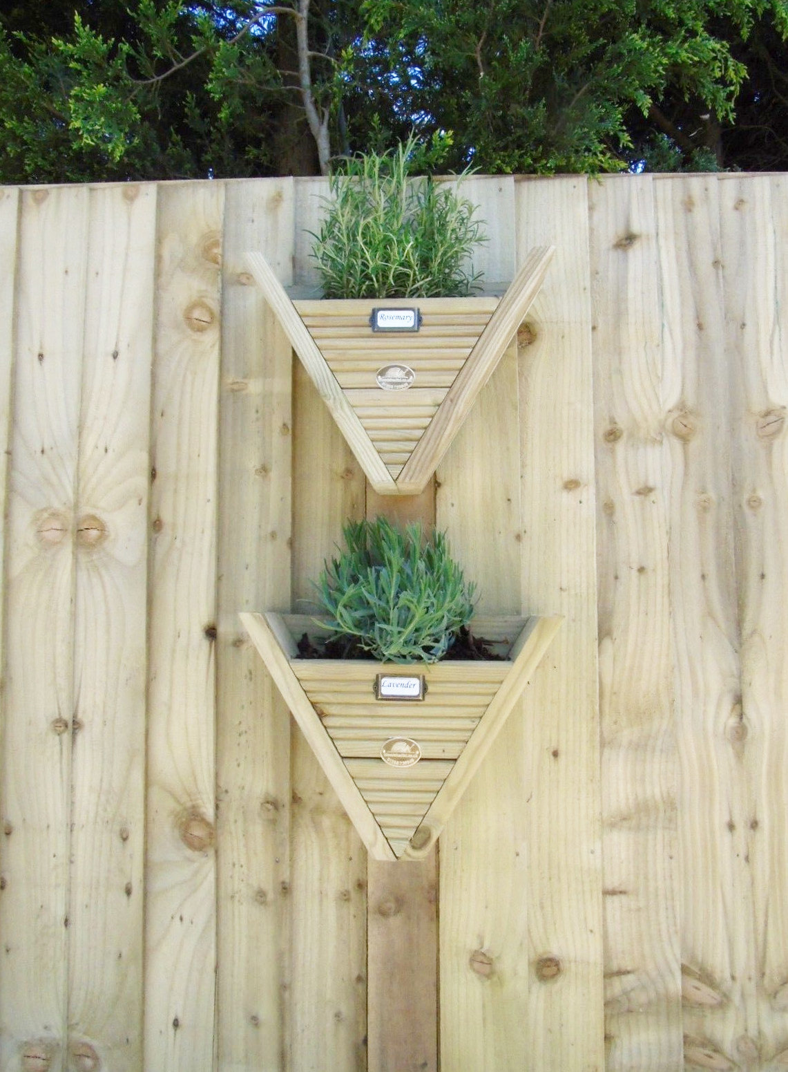Small Wooden Triangle Hanging Herb Planters Pots