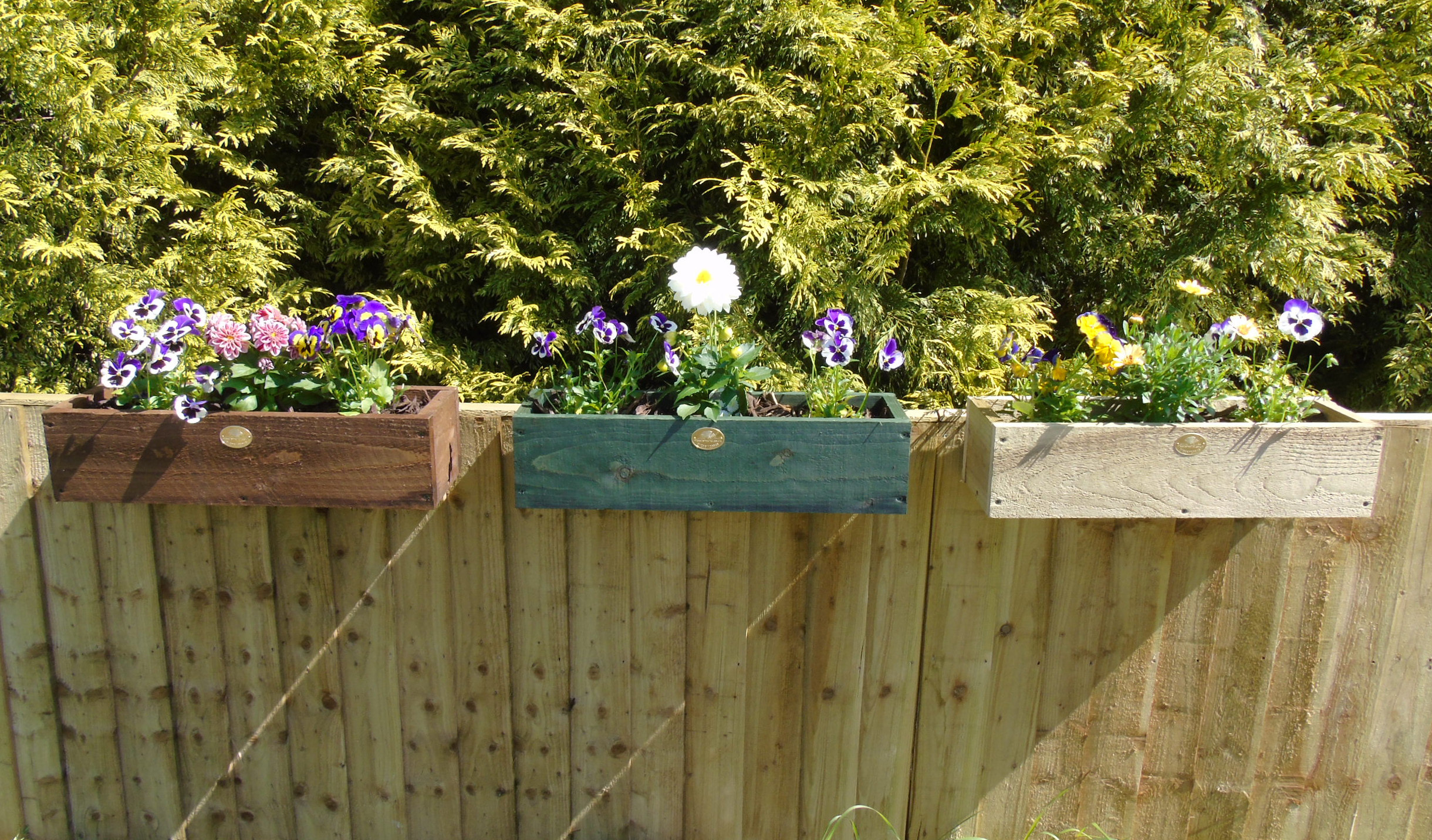 3 X 2ft Set Rustic Over The Fence Hanging Planters